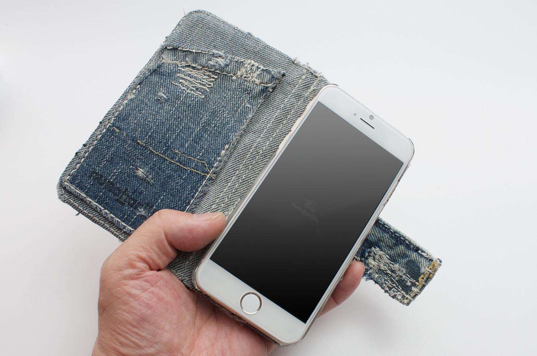 ダメージデニムコラージュ手帳型iPhoneケース