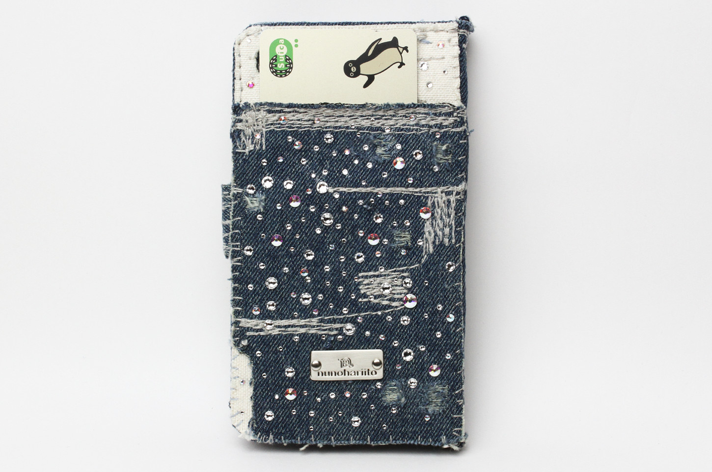スワロフスキー×デニム手帳型iPhoneケース