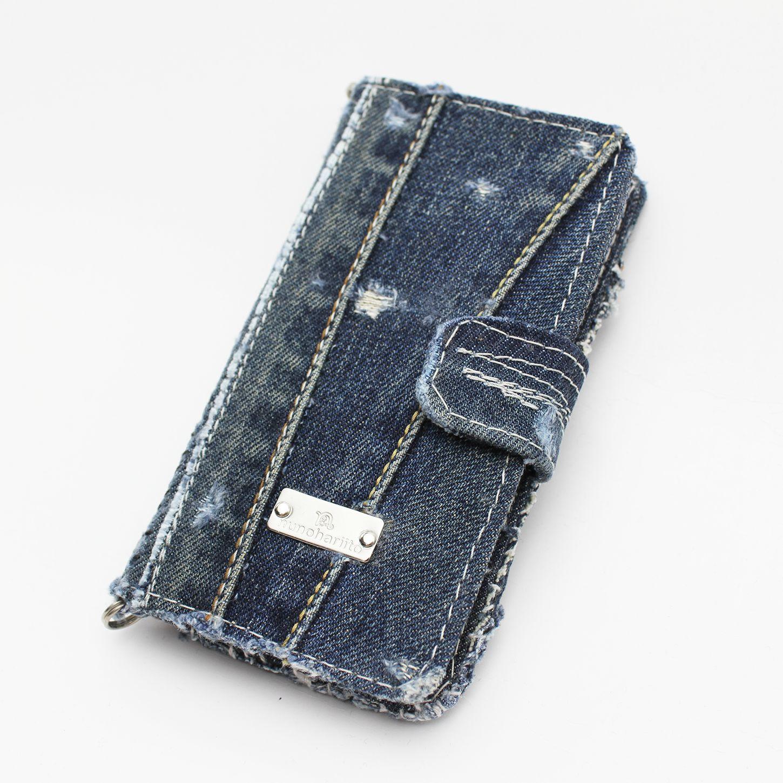 ポケットつきデニム手帳型iPhoneケース
