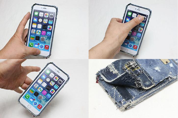 片手持ちiPhoneデニムケース