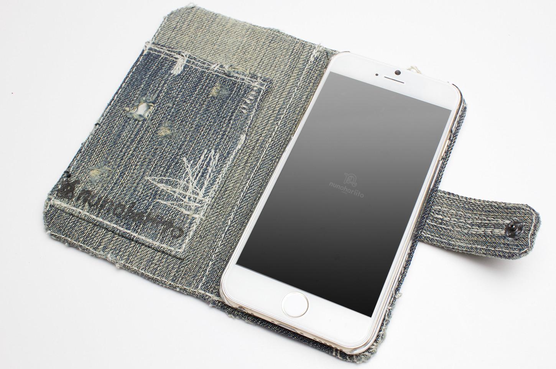 ダメージデニム手帳型iPhoneケース