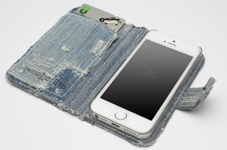 デニム手帳型iPhoneケース