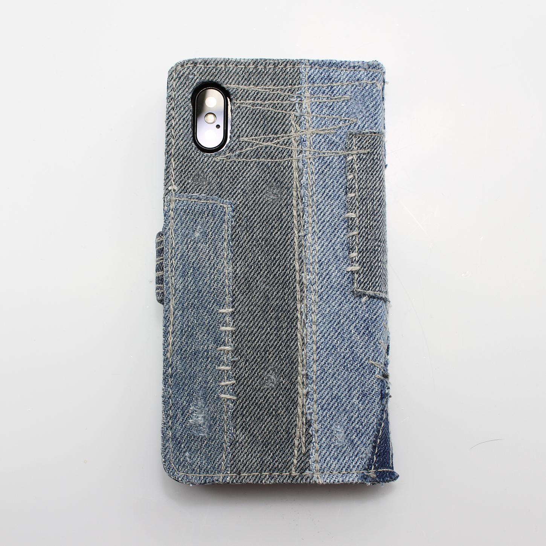 ダメージデニムをコラージュしたオシャレでかっこいい手帳型iPhoneケース