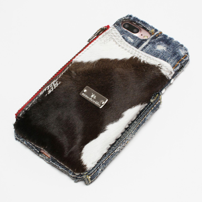 小物入れ付き仔牛柄×デニムiPhoneケース