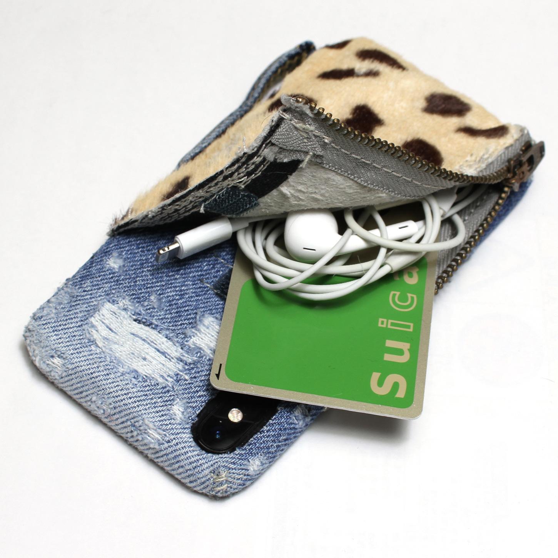 小物入れ付きチーター柄×デニムiPhoneケース