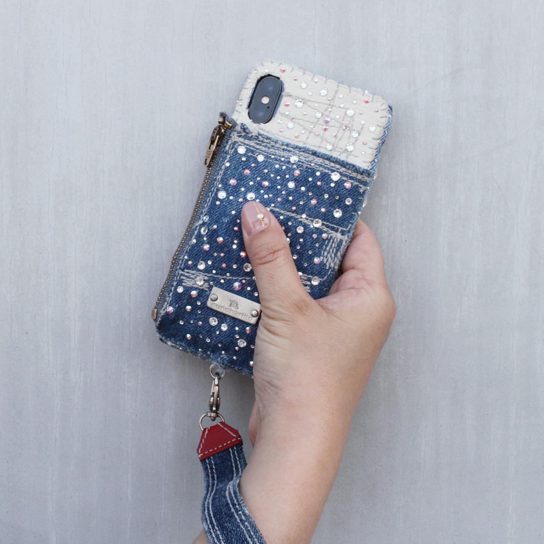 小物入れ付きスワロスフキーiPhoneケース
